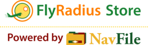 The FlyRadius Store Logo Powered by NavFile